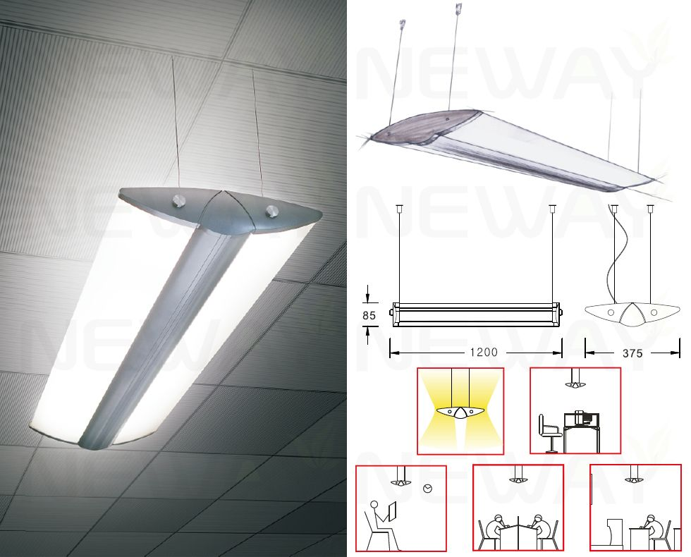 36w linear suspension led up down office lighting 1210mm modern