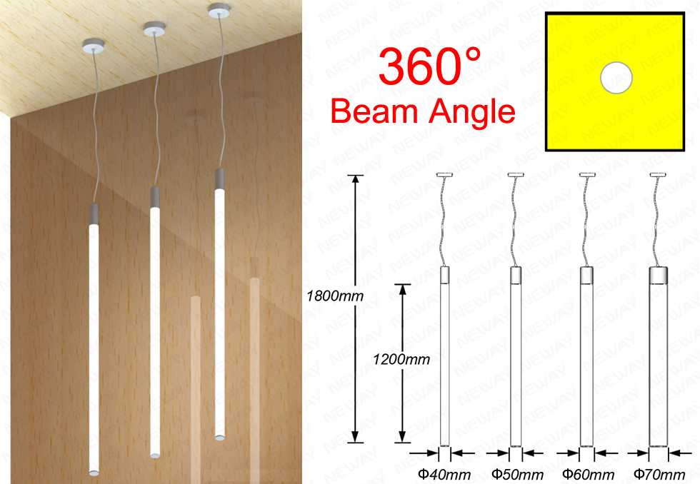 20w 30w 40 1200mm 360 Degree Lighting Suspension Office Tube Light Decorative Hanging Modern